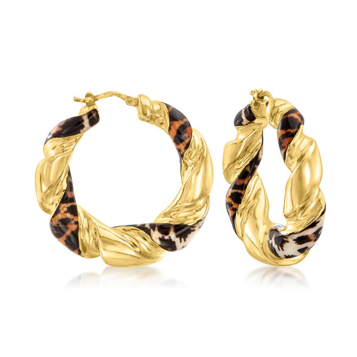 Italian Leopard-Print Enamel Hoop Earrings in 18kt Gold Over Sterling. 1 5/8""