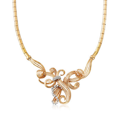 C. 1940 Vintage .85 ct. t.w. Diamond Swirl Necklace in 18kt Yellow Gold, , default