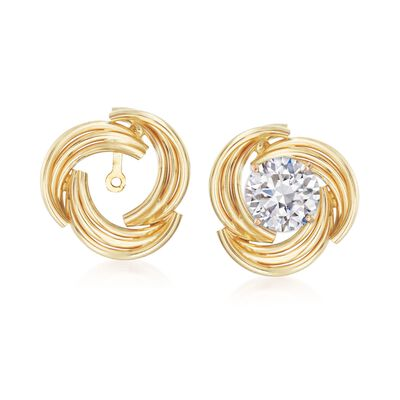 14kt Yellow Gold Curved Swirl Earring Jackets, , default