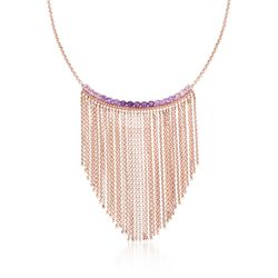 1.50 ct. t.w. Tonal Amethyst Fringe Necklace in 18kt Rose Gold Over Sterling, , default