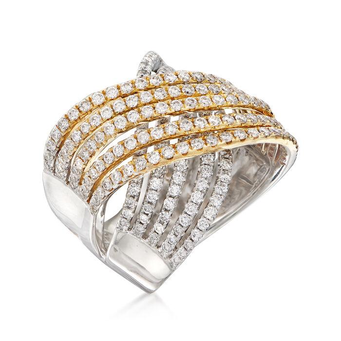2.31 ct. t.w. Diamond Multi-Row Crisscross Ring in 14kt Two-Tone Gold