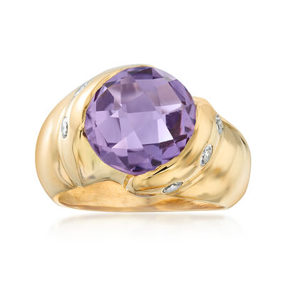 C. 1980 Vintage 1.75 Carat Amethyst and .40 ct. t.w. Diamond Ring in 18kt Yellow Gold, , default