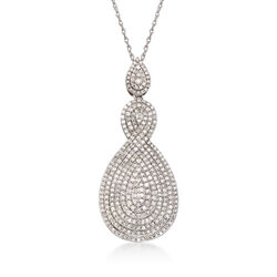 1.95 ct. t.w. Pave Diamond Infinity Pendant Necklace in Sterling Silver, , default