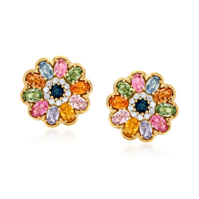 6.95 ct. t.w. Multicolored Sapphire and .15 ct. t.w. Diamond Flower Earrings in 18kt Yellow Gold