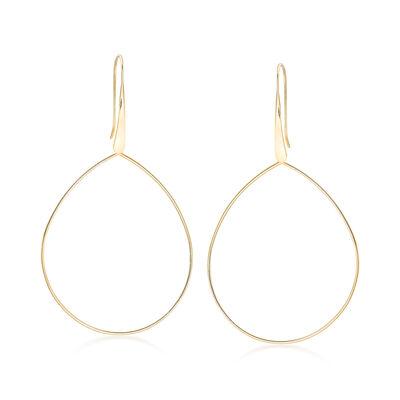 14kt Yellow Gold Open-Space Teardrop Earrings, , default