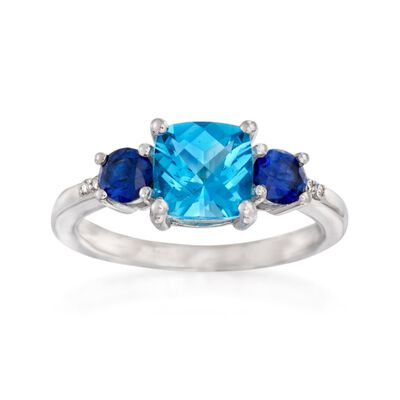1.90 Carat Blue Topaz and 1.00 ct. t.w. Synthetic Sapphire Ring With Diamond Accents in Sterling Silver, , default