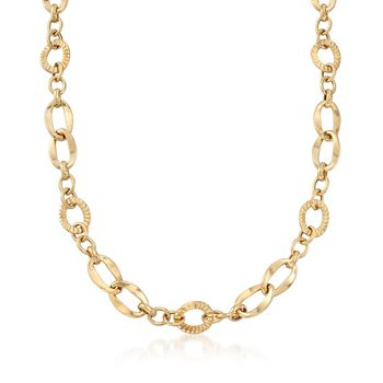 Italian 14kt Yellow Gold Textured and Polished Multi-Link Necklace
