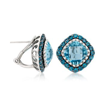 8.60 ct. t.w. Blue Topaz Stud Earrings in Sterling Silver, , default