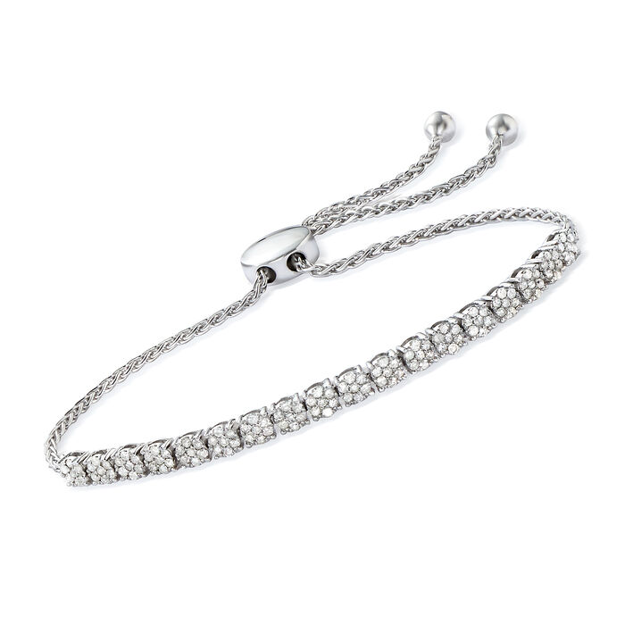 1.00 ct. t.w. Diamond Cluster Bolo Bracelet in Sterling Silver, , default