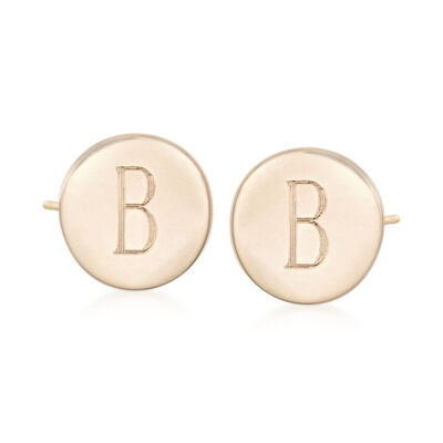 14kt Yellow Gold Single Initial Circle Stud Earrings, , default