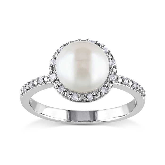 8-8.5mm Cultured Button Pearl Ring with Diamond Accents in Sterling Silver, , default