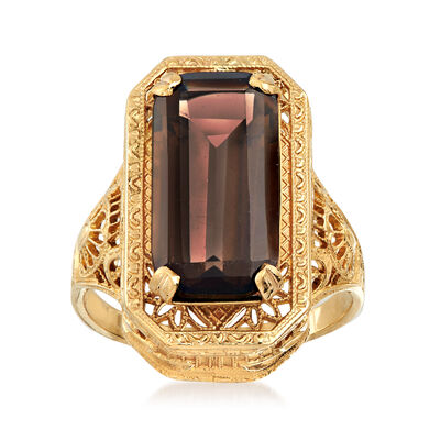 C. 1980 Vintage 4.75 Carat Smoky Quartz  Filigree Ring in 10kt Yellow Gold, , default