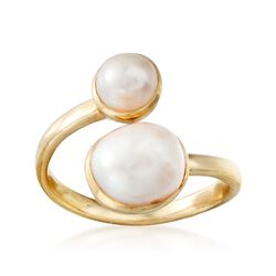 6-9mm Double Cultured Pearl Ring in 18kt Yellow Gold Over Sterling, , default