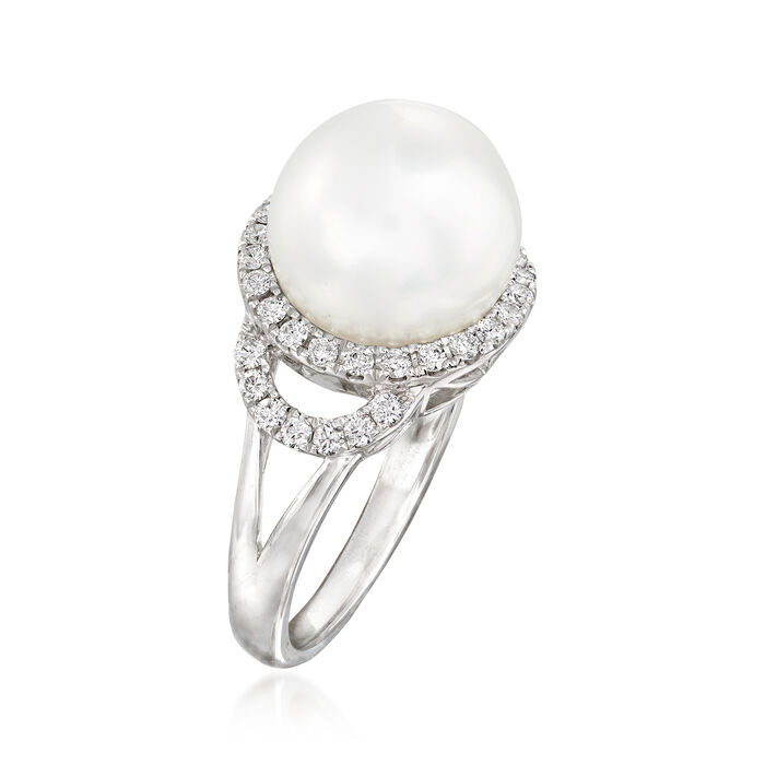 11.5-12mm Cultured South Sea Pearl and .48 ct. t.w. Diamond Ring in 18kt White Gold