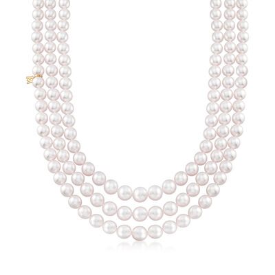 Mikimoto 7-9mm A1 Akoya Pearl Three-Strand Necklace with 18kt Yellow Gold, , default