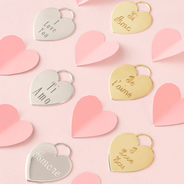 """14kt Yellow Gold Heart-Shaped """"I Love You"""" Pendant Necklace"""