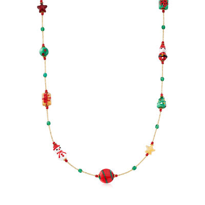 Italian Multicolored Murano Glass Bead Christmas Necklace