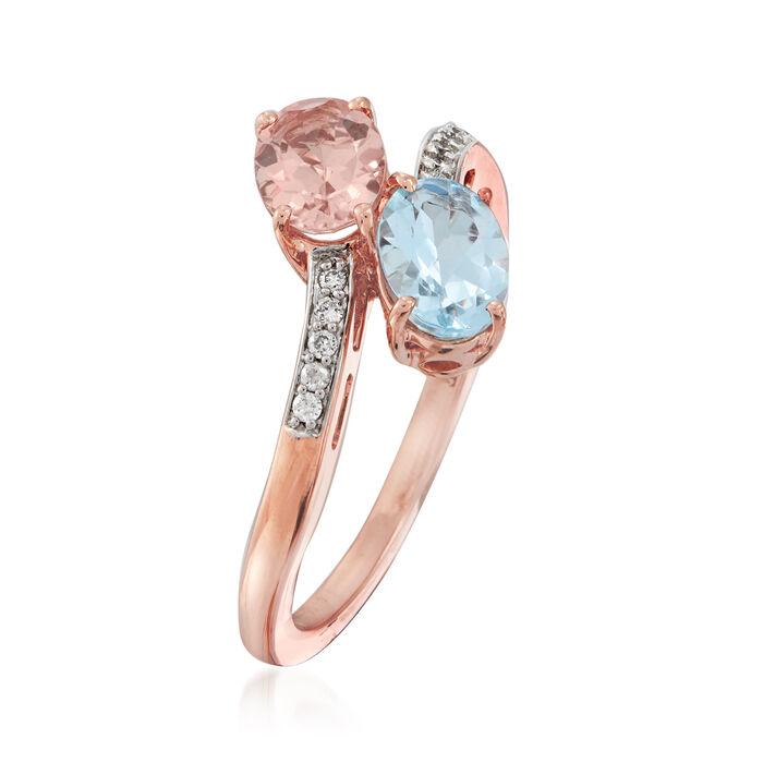 .70 Carat Morganite and .70 Carat Aquamarine Bypass Ring in 14kt Rose Gold