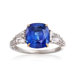 C. 1990 Vintage 4.05 Carat Sapphire and .90 ct. t.w. Diamond Ring in 18kt White Gold. Size 6.5, , default
