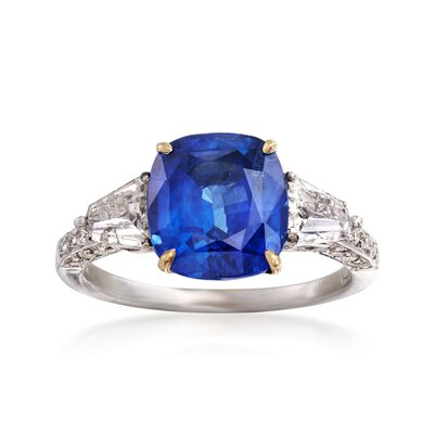 C. 1990 Vintage 4.05 Carat Sapphire and .90 ct. t.w. Diamond Ring in 18kt White Gold, , default