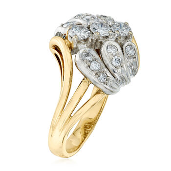 C. 1980 Vintage 1.00 ct. t.w. Diamond Cluster Ring in 14kt Two-Tone Gold. Size 7.5, , default