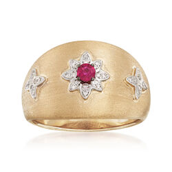 .10 Carat Ruby and Diamond-Accented Ring in 14kt Yellow Gold, , default
