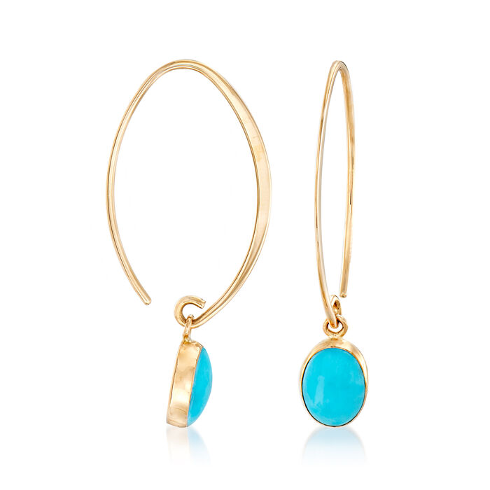Turquoise Drop Earrings in 14kt Yellow Gold