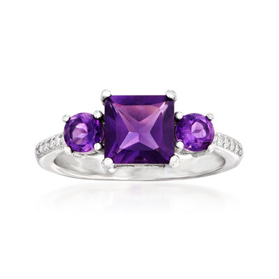 1.60 ct. t.w. Amethyst Ring with White Zircon Accents in Sterling Silver