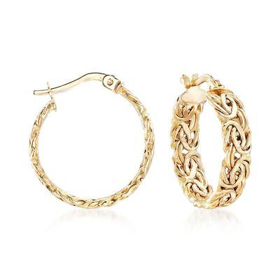 14kt Yellow Gold Byzantine Hoop Earrings, , default