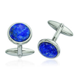 Round Lapis Cuff Links in Stainless Steel, , default