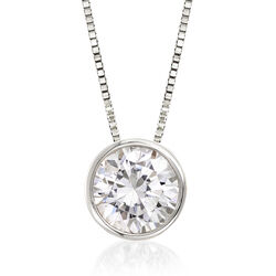 "1.00 Carat Bezel-Set Diamond Solitaire Necklace in 14kt White Gold. 18"", , default"