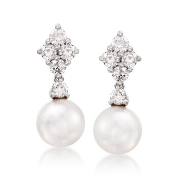 """Mikimoto """"Classic"""" 7.5mm Akoya Pearl and .70 ct. t.w. Diamond Drop Earrings in 18kt White Gold, , default"""