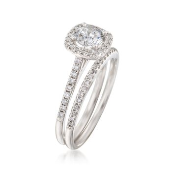 1.11 ct. t.w. Diamond Bridal Set: Engagement and Wedding Rings in 14kt White Gold, , default