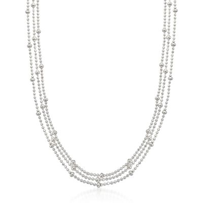 Italian Sterling Silver Three-Strand Bead Chain Necklace, , default