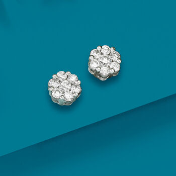 .50 ct. t.w. Diamond Floral Cluster Stud Earrings in 14kt White Gold