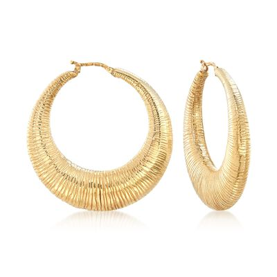 Italian 18kt Gold Over Sterling Textured Hoop Earrings, , default