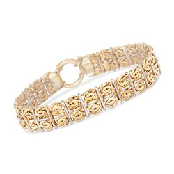 Two-Tone Sterling Silver Double-Row Byzantine Bracelet, , default