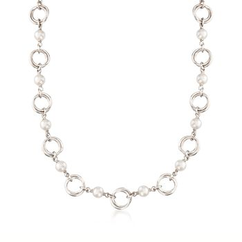 Italian 6mm Cultured Pearl Link Necklace in Sterling Silver, , default