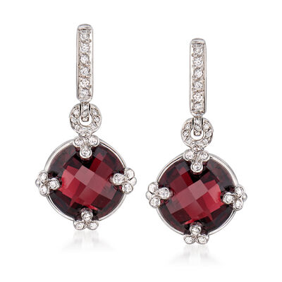 C. 2000 Vintage 12.00 ct. t.w. Garnet and .35 ct. t.w. Diamond Drop Earrings in 18kt White Gold, , default