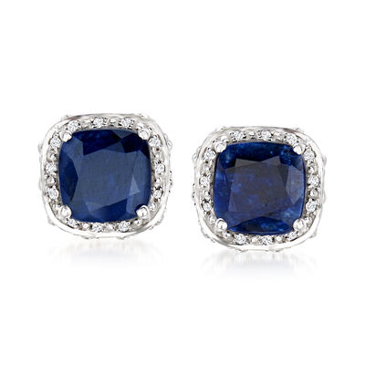 5.60 ct. t.w. Sapphire and .10 ct. t.w. White Topaz Double-Frame Stud Earrings in Sterling Silver