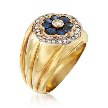C. 1980 Vintage 1.40 ct. t.w. Sapphire and .35 ct. t.w. Diamond Floral Ring in 14kt Yellow Gold. Size 9, , default