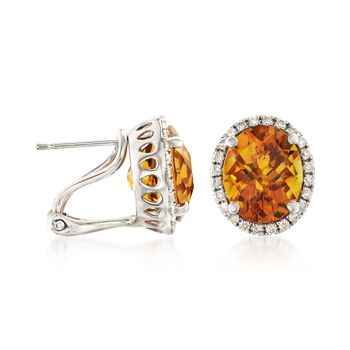 4.60 ct. t.w. Citrine and .32 ct. t.w. Diamond Oval Earrings in 14kt White Gold, , default