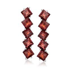 7.25 ct. t.w. Garnet Drop Earrings in Sterling Silver , , default