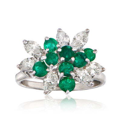C. 1980 Vintage 1.05 ct. t.w. Diamond and 1.00 ct. t.w. Emerald Cluster Ring in 14kt White Gold
