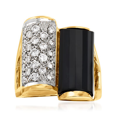C. 1980 Vintage Black Onyx and 1.00 ct. t.w. Diamond Ring in 14kt Yellow Gold