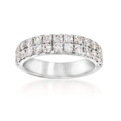 Henri Daussi 1.10 ct. t.w. Diamond Double Row Wedding Ring in 14kt White Gold