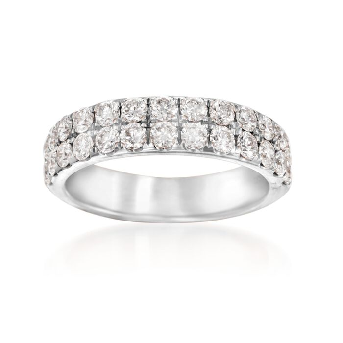 Henri Daussi 1.10 ct. t.w. Diamond Double Row Wedding Ring in 14kt White Gold, , default