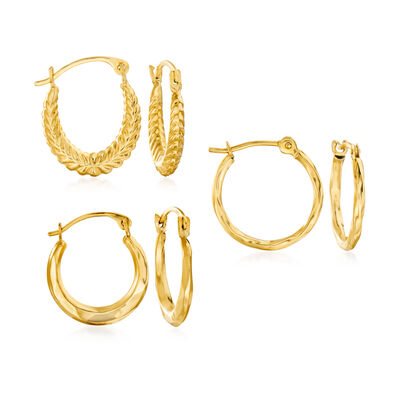 14kt Yellow Gold Jewelry Set: Three Pairs of Huggie Hoop Earrings