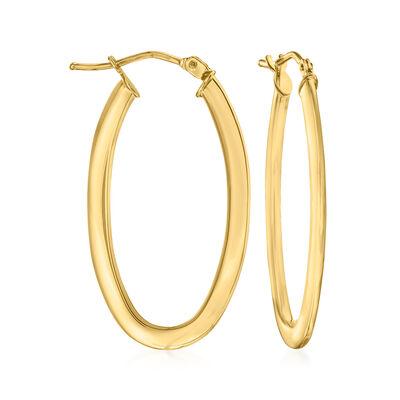 Italian 14kt Yellow Gold Oval Hoop Earrings