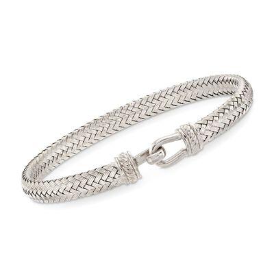 Italian Sterling Silver Horsebit Bracelet, , default